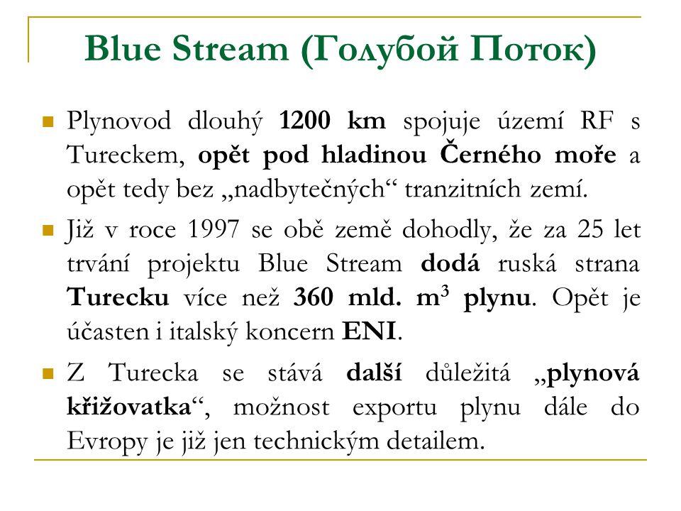 """Blue Stream (Голубой Поток)  Plynovod dlouhý 1200 km spojuje území RF s Tureckem, opět pod hladinou Černého moře a opět tedy bez """"nadbytečných"""" tranz"""