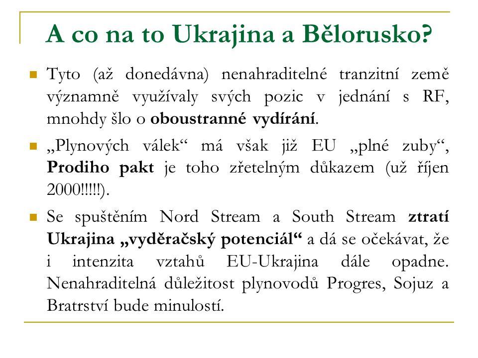 A co na to Ukrajina a Bělorusko?  Tyto (až donedávna) nenahraditelné tranzitní země významně využívaly svých pozic v jednání s RF, mnohdy šlo o obous