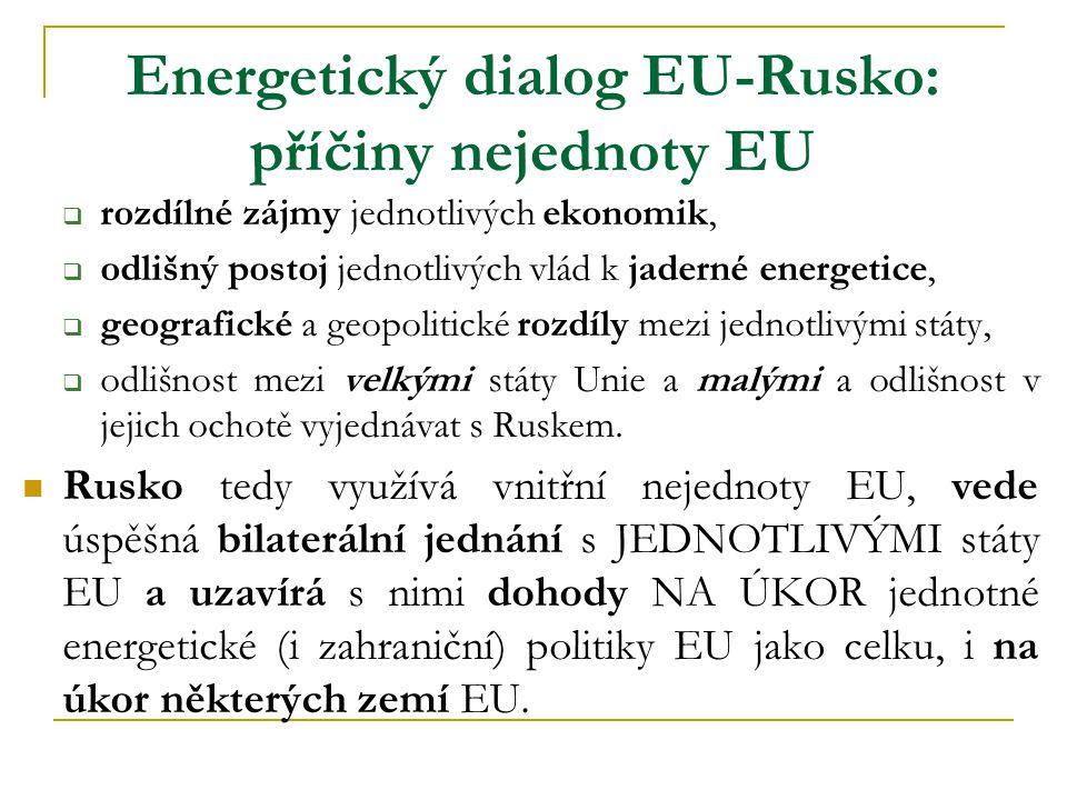 Energetický dialog EU-Rusko: příčiny nejednoty EU  rozdílné zájmy jednotlivých ekonomik,  odlišný postoj jednotlivých vlád k jaderné energetice,  geografické a geopolitické rozdíly mezi jednotlivými státy,  odlišnost mezi velkými státy Unie a malými a odlišnost v jejich ochotě vyjednávat s Ruskem.