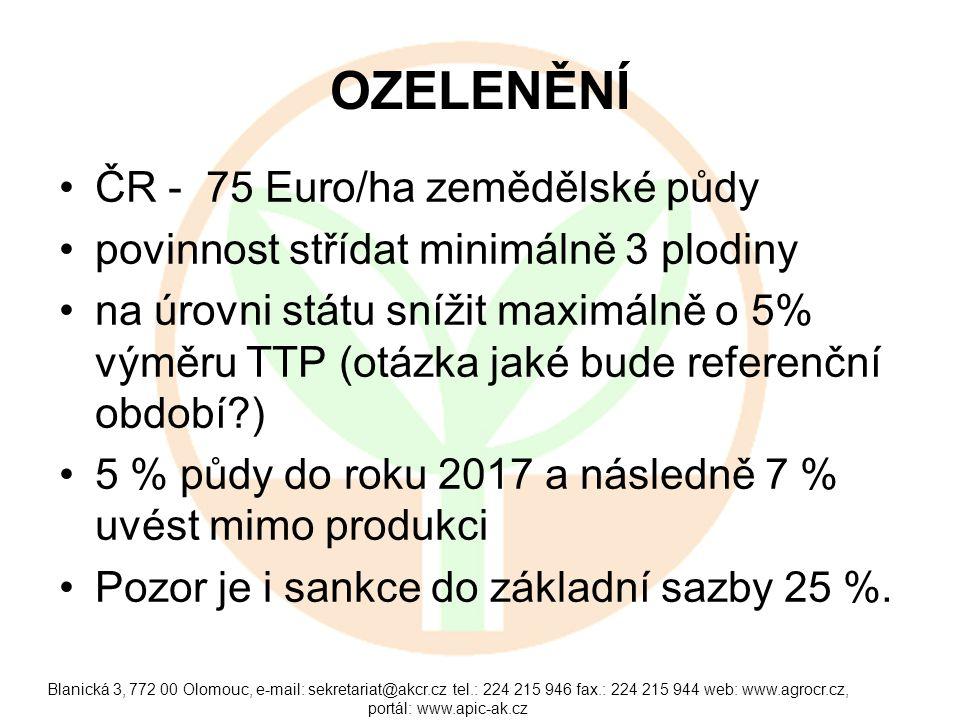 OZELENĚNÍ •ČR - 75 Euro/ha zemědělské půdy •povinnost střídat minimálně 3 plodiny •na úrovni státu snížit maximálně o 5% výměru TTP (otázka jaké bude referenční období?) •5 % půdy do roku 2017 a následně 7 % uvést mimo produkci •Pozor je i sankce do základní sazby 25 %.