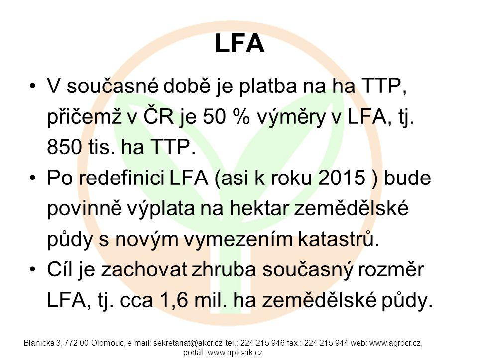 LFA •V současné době je platba na ha TTP, přičemž v ČR je 50 % výměry v LFA, tj. 850 tis. ha TTP. •Po redefinici LFA (asi k roku 2015 ) bude povinně v