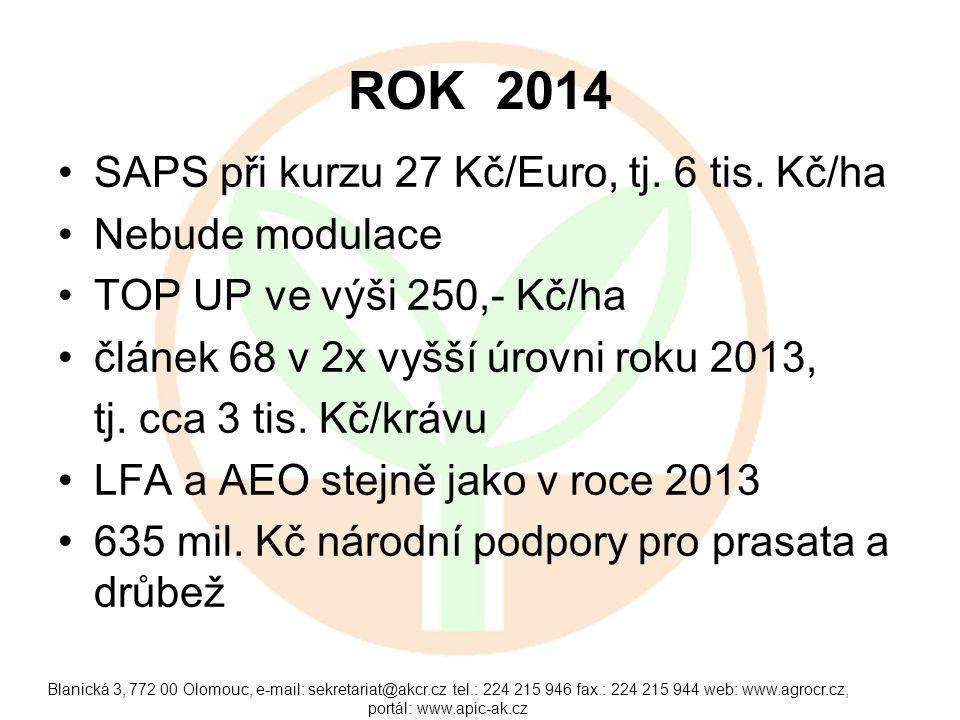 ROK 2014 •SAPS při kurzu 27 Kč/Euro, tj. 6 tis. Kč/ha •Nebude modulace •TOP UP ve výši 250,- Kč/ha •článek 68 v 2x vyšší úrovni roku 2013, tj. cca 3 t