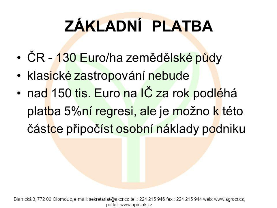 ZÁKLADNÍ PLATBA •ČR - 130 Euro/ha zemědělské půdy •klasické zastropování nebude •nad 150 tis. Euro na IČ za rok podléhá platba 5%ní regresi, ale je mo