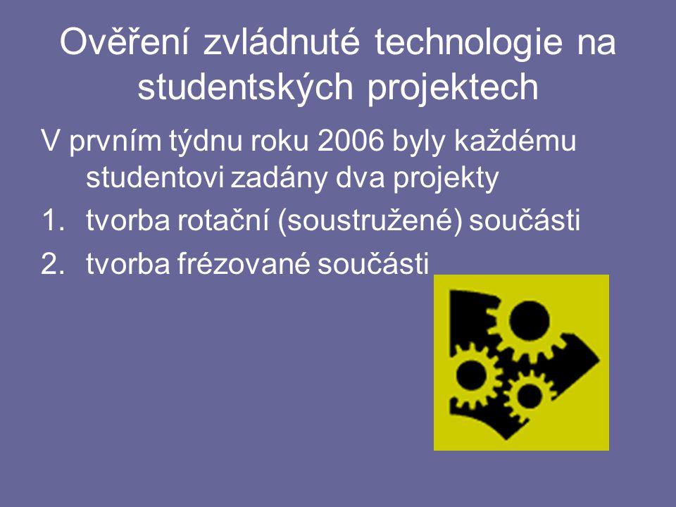 Ověření zvládnuté technologie na studentských projektech V prvním týdnu roku 2006 byly každému studentovi zadány dva projekty 1.tvorba rotační (soustružené) součásti 2.tvorba frézované součásti
