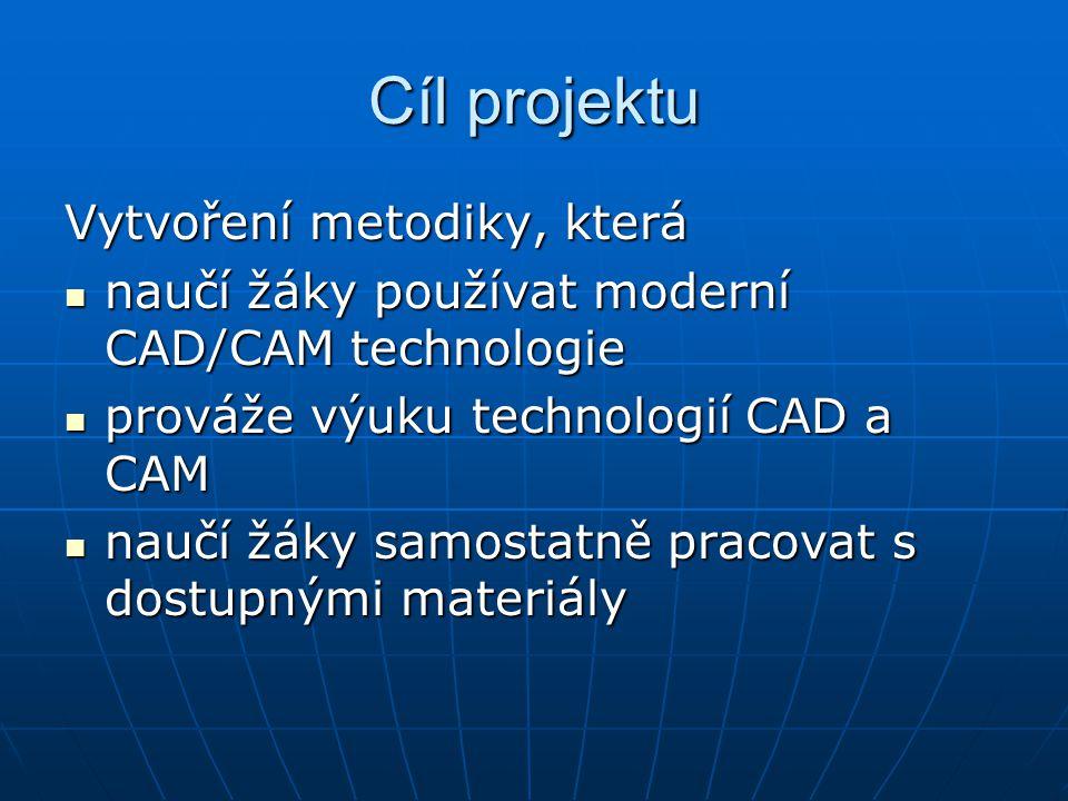 Cíl projektu Vytvoření metodiky, která  naučí žáky používat moderní CAD/CAM technologie  prováže výuku technologií CAD a CAM  naučí žáky samostatně pracovat s dostupnými materiály