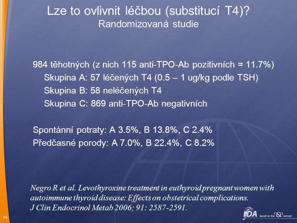 10 Lze to ovlivnit léčbou (substitucí T4)? Randomizovaná studie 984 těhotných (z nich 115 anti-TPO-Ab pozitivních = 11.7%) Skupina A: 57 léčených T4 (
