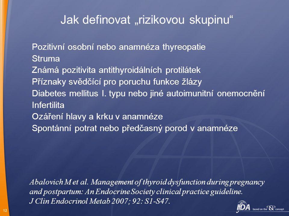 """12 Jak definovat """"rizikovou skupinu"""" Pozitivní osobní nebo anamnéza thyreopatie Struma Známá pozitivita antithyroidálních protilátek Příznaky svědčící"""