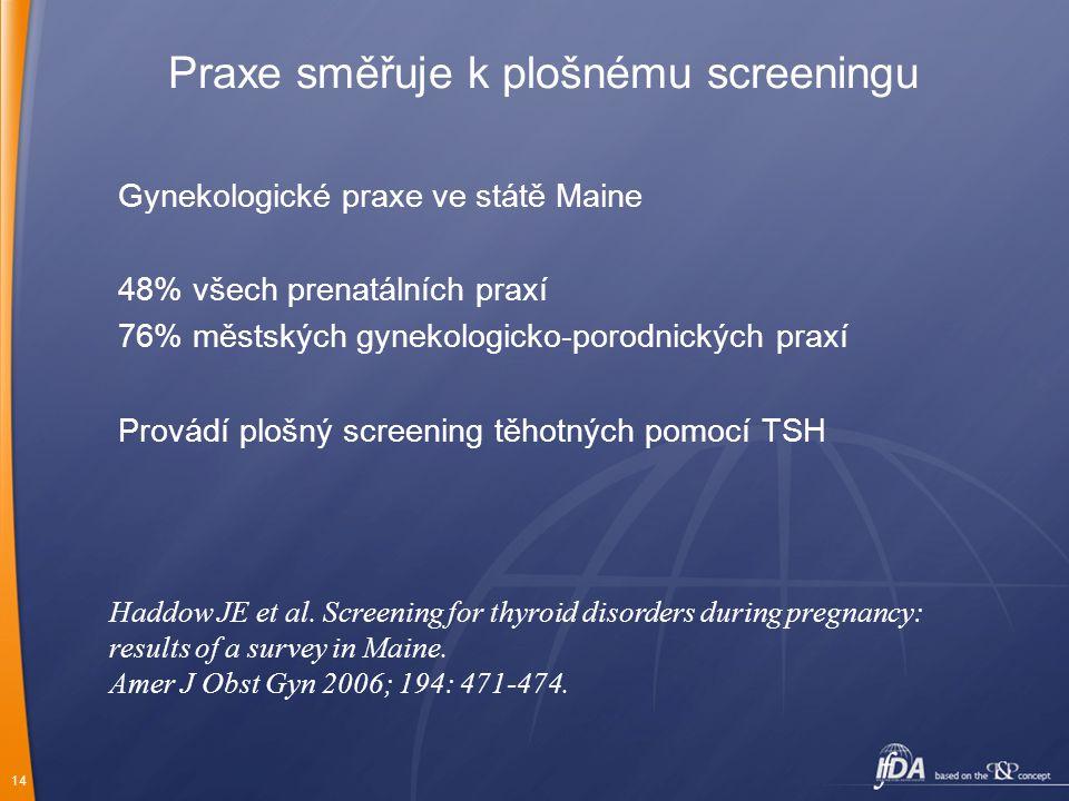 14 Praxe směřuje k plošnému screeningu Gynekologické praxe ve státě Maine 48% všech prenatálních praxí 76% městských gynekologicko-porodnických praxí