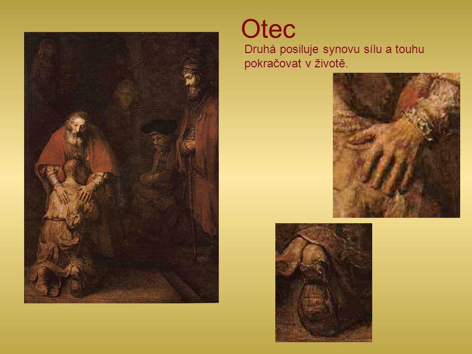 Otec Jedna ruka ochraňuje zranitelnou stranu – nohu bez opánky.