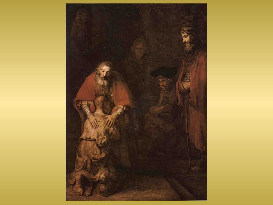 Sedící muž - správce bijící se v prsa znázorňuje hříšníky a celníky