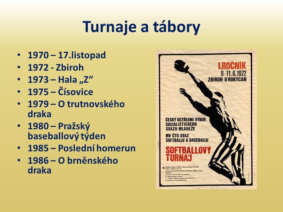 "Turnaje a tábory • 1970 – 17.listopad • 1972 - Zbiroh • 1973 – Hala ""Z"" • 1975 – Čísovice • 1979 – O trutnovského draka • 1980 – Pražský baseballový t"