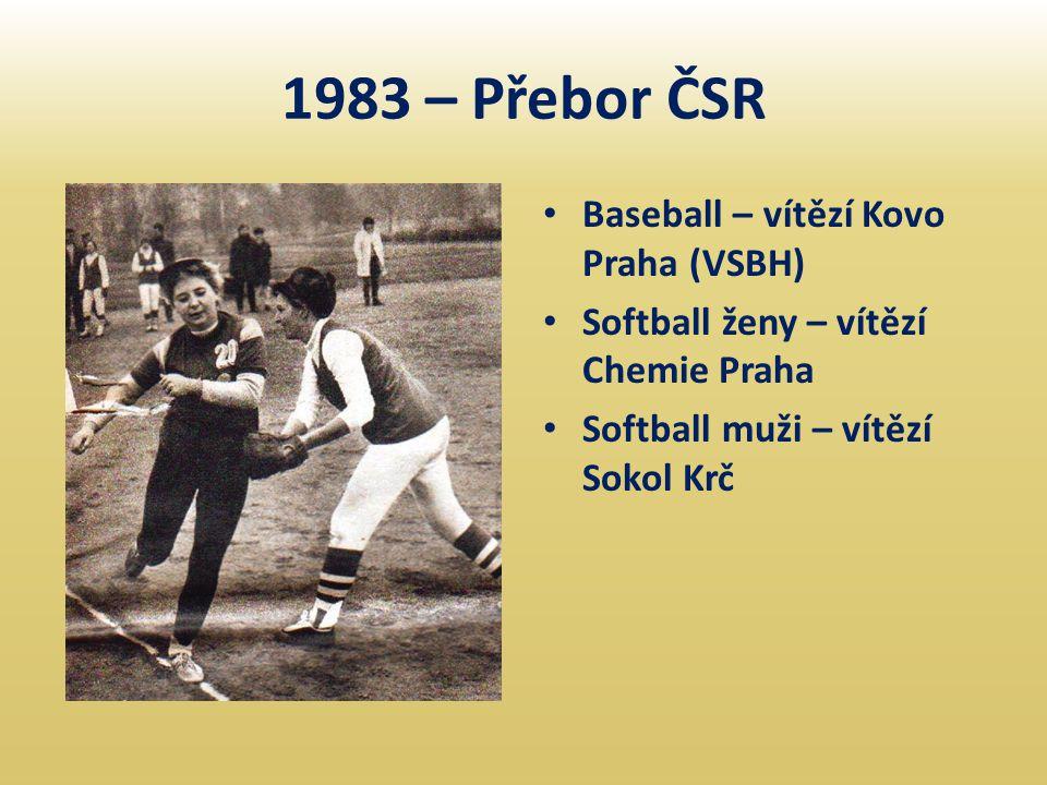 1983 – Přebor ČSR • Baseball – vítězí Kovo Praha (VSBH) • Softball ženy – vítězí Chemie Praha • Softball muži – vítězí Sokol Krč