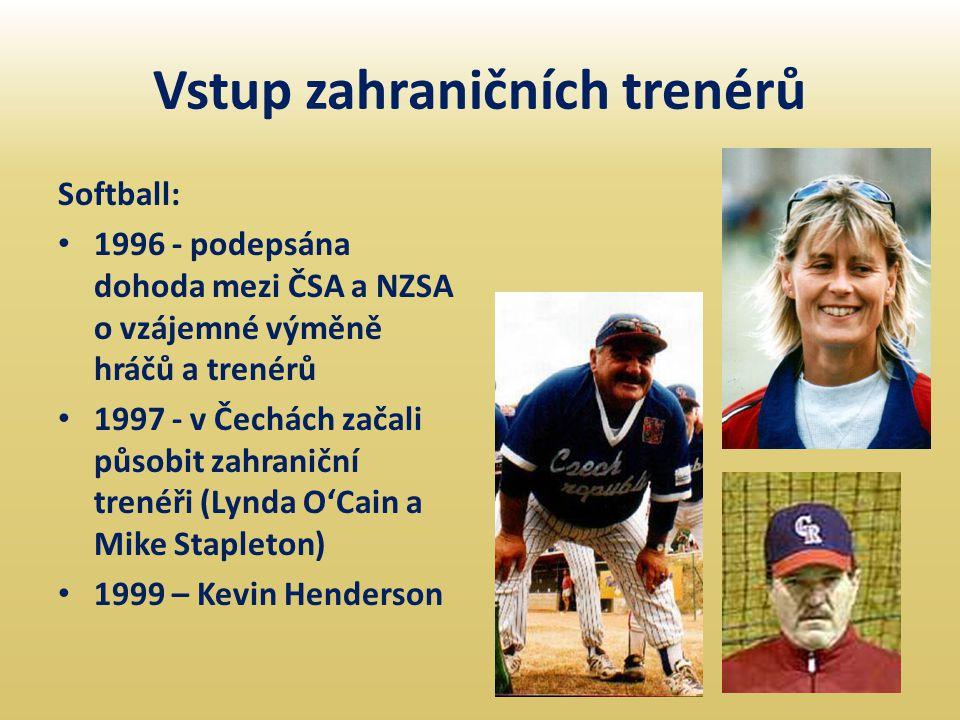 Vstup zahraničních trenérů Softball: • 1996 - podepsána dohoda mezi ČSA a NZSA o vzájemné výměně hráčů a trenérů • 1997 - v Čechách začali působit zah