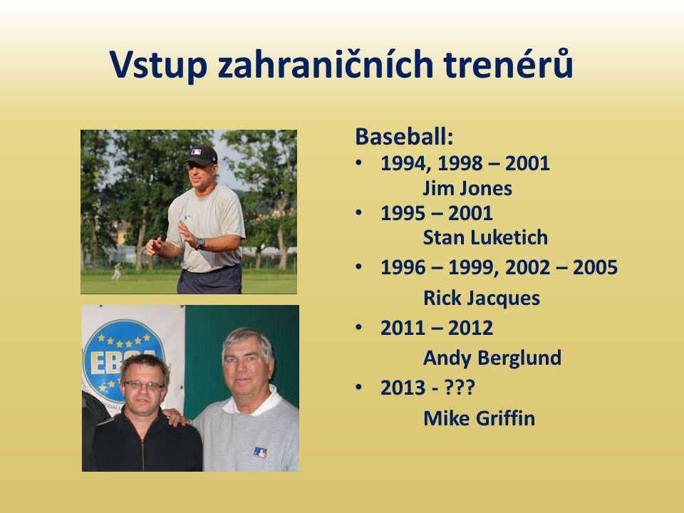 Vstup zahraničních trenérů Baseball: • 1994, 1998 – 2001 Jim Jones • 1995 – 2001 Stan Luketich • 1996 – 1999, 2002 – 2005 Rick Jacques • 2011 – 2012 A
