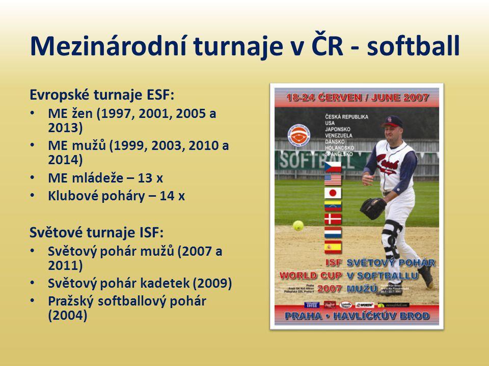Mezinárodní turnaje v ČR - softball Evropské turnaje ESF: • ME žen (1997, 2001, 2005 a 2013) • ME mužů (1999, 2003, 2010 a 2014) • ME mládeže – 13 x •