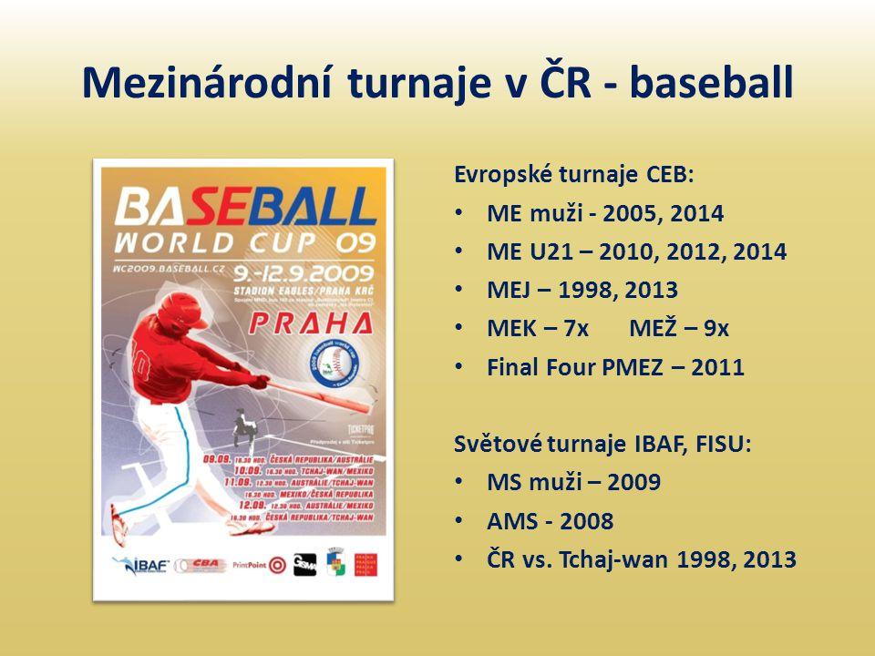 Mezinárodní turnaje v ČR - baseball Evropské turnaje CEB: • ME muži - 2005, 2014 • ME U21 – 2010, 2012, 2014 • MEJ – 1998, 2013 • MEK – 7xMEŽ – 9x • F