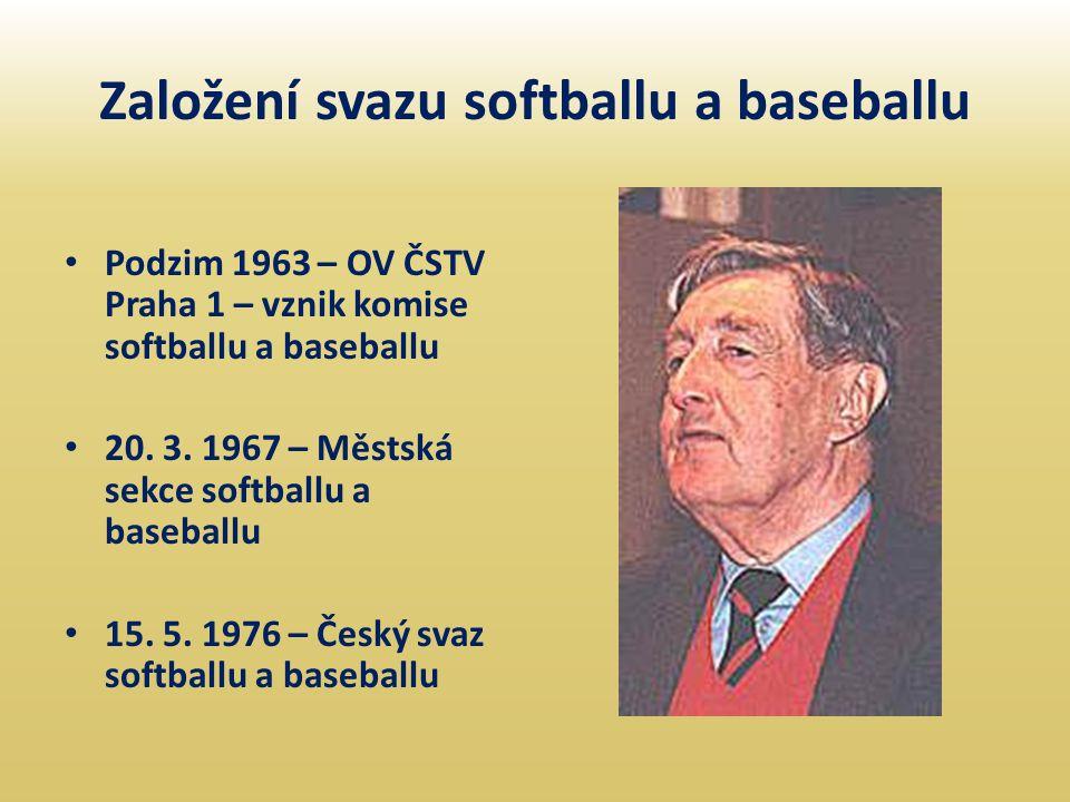 Založení svazu softballu a baseballu • Podzim 1963 – OV ČSTV Praha 1 – vznik komise softballu a baseballu • 20. 3. 1967 – Městská sekce softballu a ba