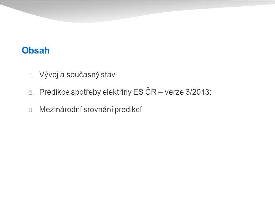Obsah 1.Vývoj a současný stav 2. Predikce spotřeby elektřiny ES ČR – verze 3/2013: 3.