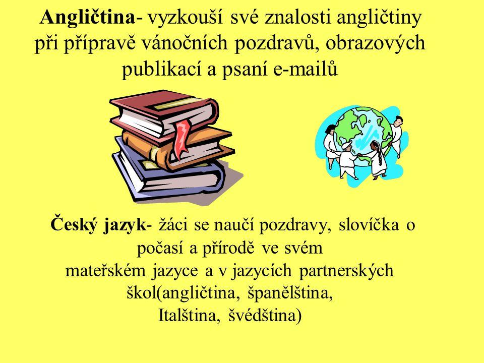 Angličtina- vyzkouší své znalosti angličtiny při přípravě vánočních pozdravů, obrazových publikací a psaní e-mailů Český jazyk- žáci se naučí pozdravy, slovíčka o počasí a přírodě ve svém mateřském jazyce a v jazycích partnerských škol(angličtina, španělština, Italština, švédština)