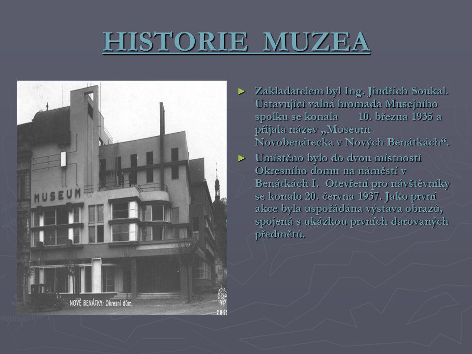 """HISTORIE MUZEA ► Zakladatelem byl Ing. Jindřich Soukal. Ustavující valná hromada Musejního spolku se konala 10. března 1935 a přijala název """"Museum No"""