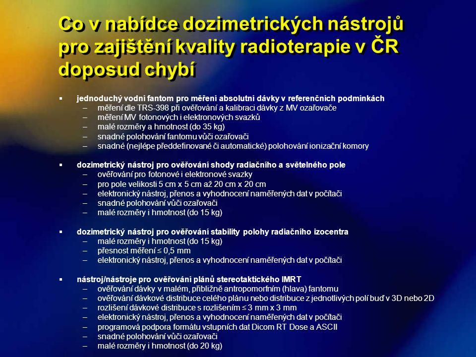 Co v nabídce dozimetrických nástrojů pro zajištění kvality radioterapie v ČR doposud chybí  jednoduchý vodní fantom pro měření absolutní dávky v refe