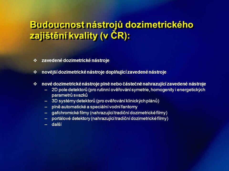 Budoucnost nástrojů dozimetrického zajištění kvality (v ČR):  zavedené dozimetrické nástroje  novější dozimetrické nástroje doplňující zavedené nást