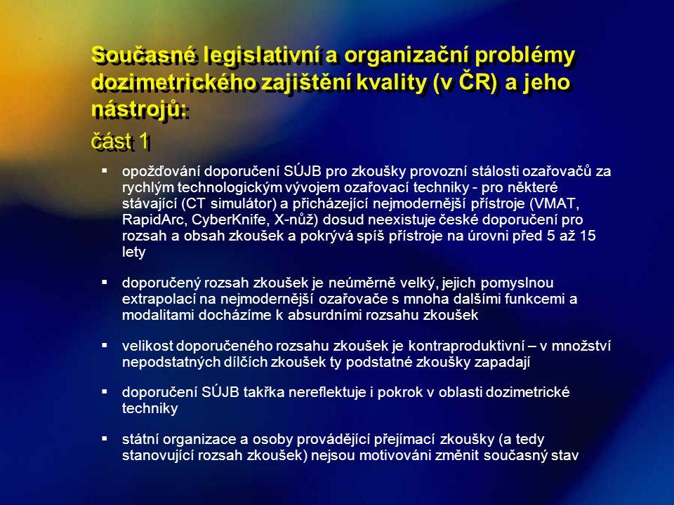Současné legislativní a organizační problémy dozimetrického zajištění kvality (v ČR) a jeho nástrojů: část 1 Současné legislativní a organizační probl