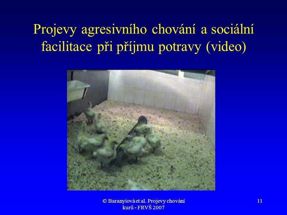 © Baranyiová et al. Projevy chování kurů - FRVŠ 2007 11 Projevy agresivního chování a sociální facilitace při příjmu potravy (video)