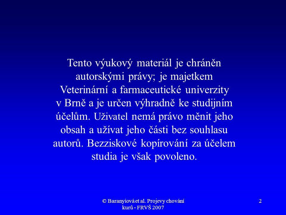 © Baranyiová et al. Projevy chování kurů - FRVŠ 2007 23 Konzum zeleného krmiva (video)