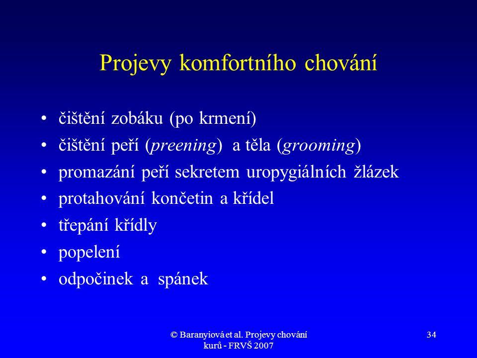 © Baranyiová et al. Projevy chování kurů - FRVŠ 2007 34 Projevy komfortního chování •čištění zobáku (po krmení) •čištění peří (preening) a těla (groom