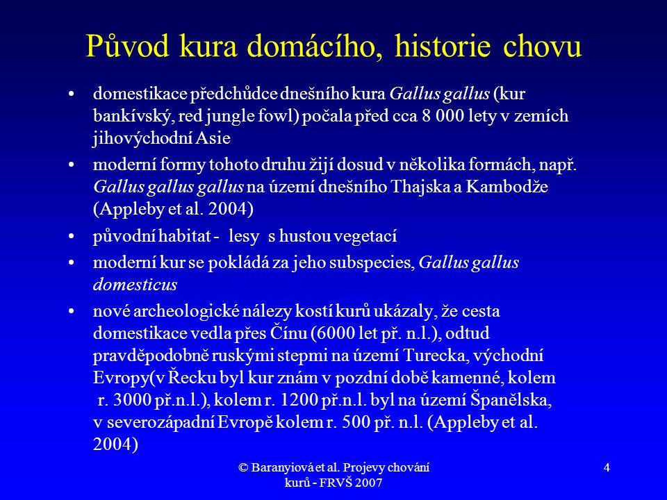 © Baranyiová et al. Projevy chování kurů - FRVŠ 2007 4 Původ kura domácího, historie chovu •domestikace předchůdce dnešního kura Gallus gallus (kur ba