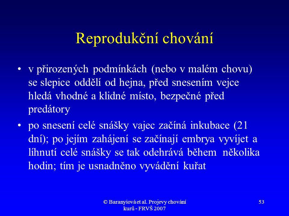 © Baranyiová et al. Projevy chování kurů - FRVŠ 2007 53 Reprodukční chování •v přirozených podmínkách (nebo v malém chovu) se slepice oddělí od hejna,