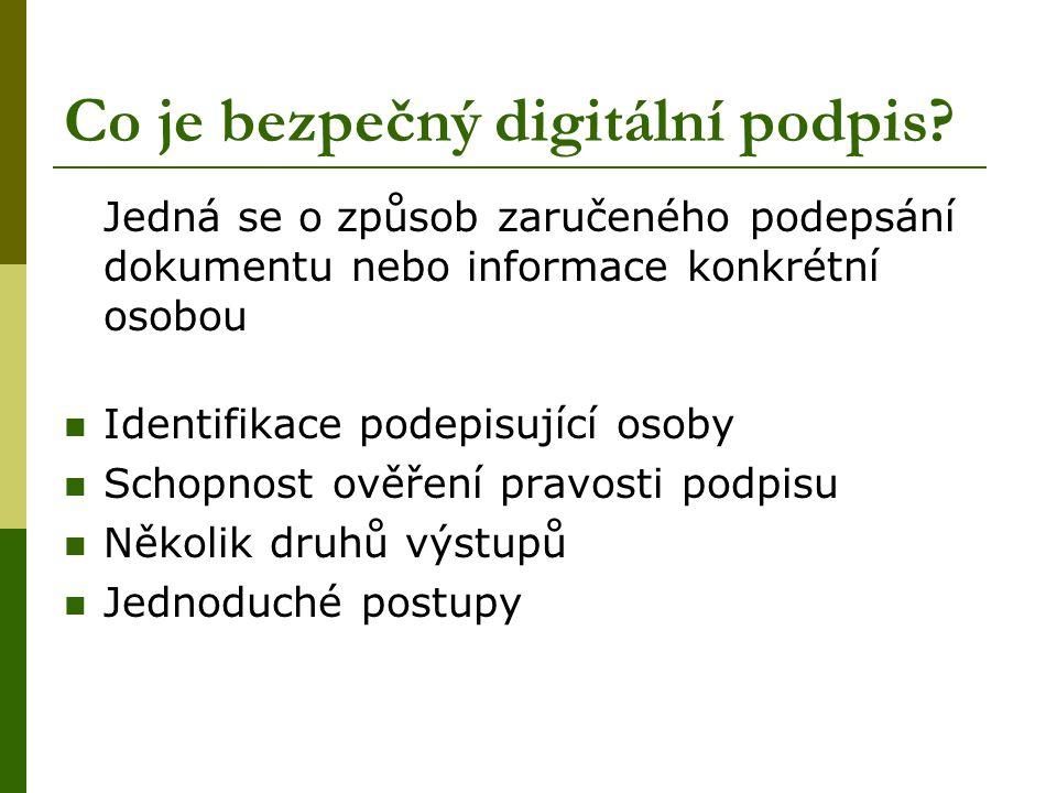 Co je bezpečný digitální podpis? Jedná se o způsob zaručeného podepsání dokumentu nebo informace konkrétní osobou  Identifikace podepisující osoby 