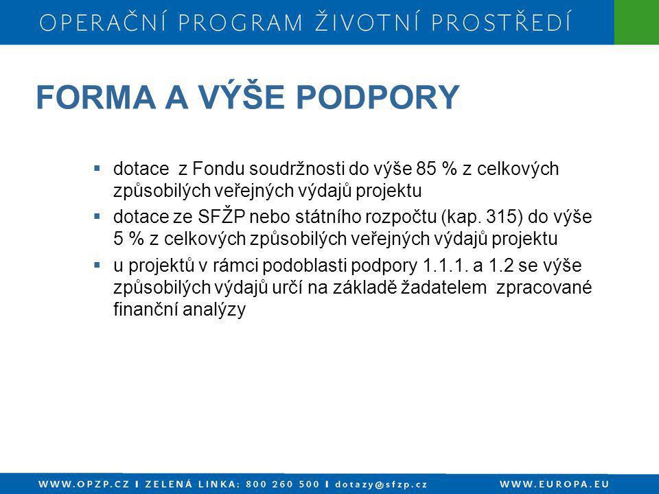FORMA A VÝŠE PODPORY  dotace z Fondu soudržnosti do výše 85 % z celkových způsobilých veřejných výdajů projektu  dotace ze SFŽP nebo státního rozpoč
