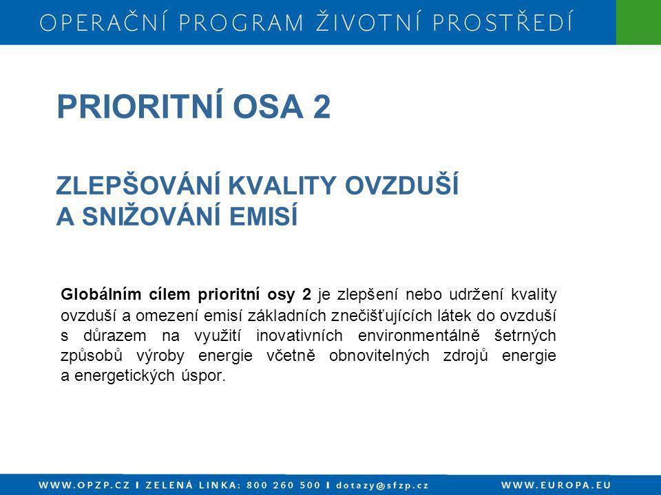 PRIORITNÍ OSA 2 ZLEPŠOVÁNÍ KVALITY OVZDUŠÍ A SNIŽOVÁNÍ EMISÍ Globálním cílem prioritní osy 2 je zlepšení nebo udržení kvality ovzduší a omezení emisí