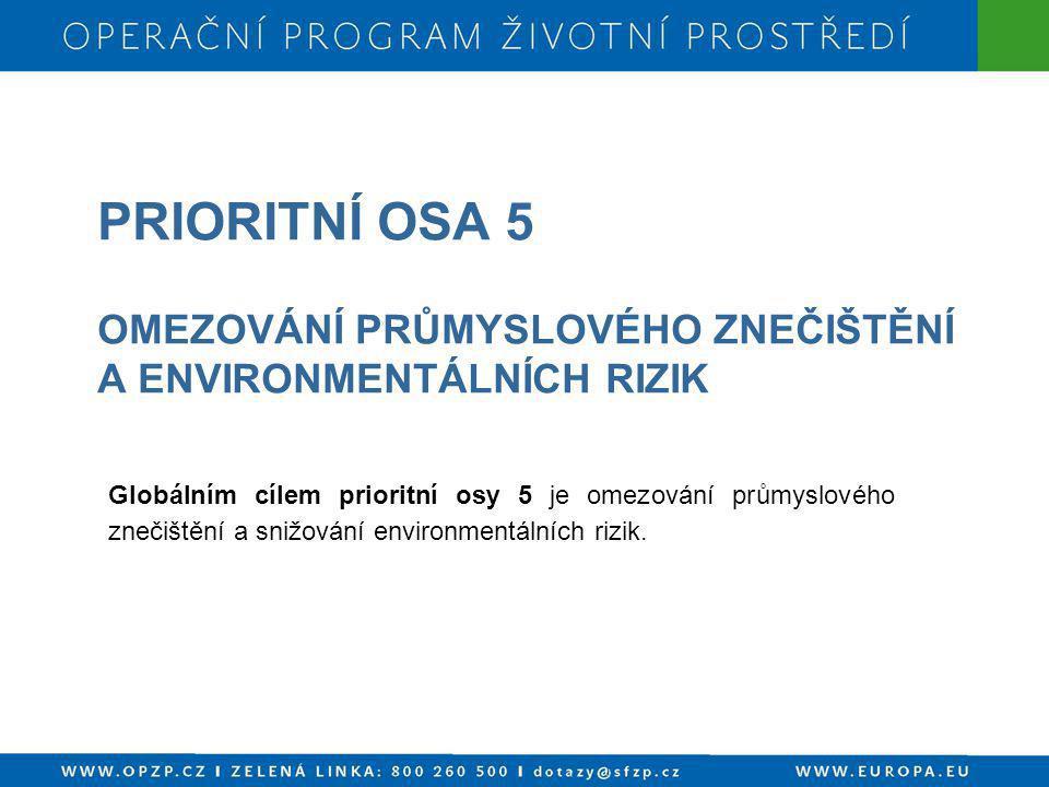 PRIORITNÍ OSA 5 OMEZOVÁNÍ PRŮMYSLOVÉHO ZNEČIŠTĚNÍ A ENVIRONMENTÁLNÍCH RIZIK Globálním cílem prioritní osy 5 je omezování průmyslového znečištění a sni