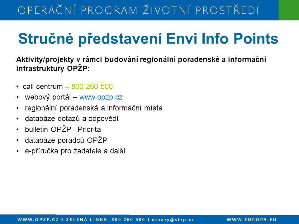 Aktivity/projekty v rámci budování regionální poradenské a informační infrastruktury OPŽP: • call centrum – 800 260 500 • webový portál – www.opzp.cz