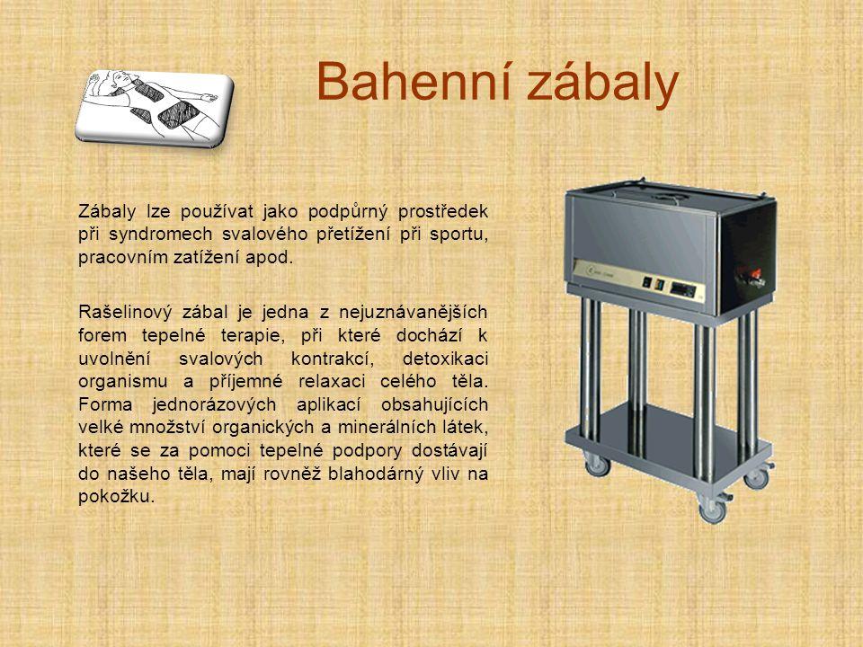 Bahenní zábaly Zábaly lze používat jako podpůrný prostředek při syndromech svalového přetížení při sportu, pracovním zatížení apod.