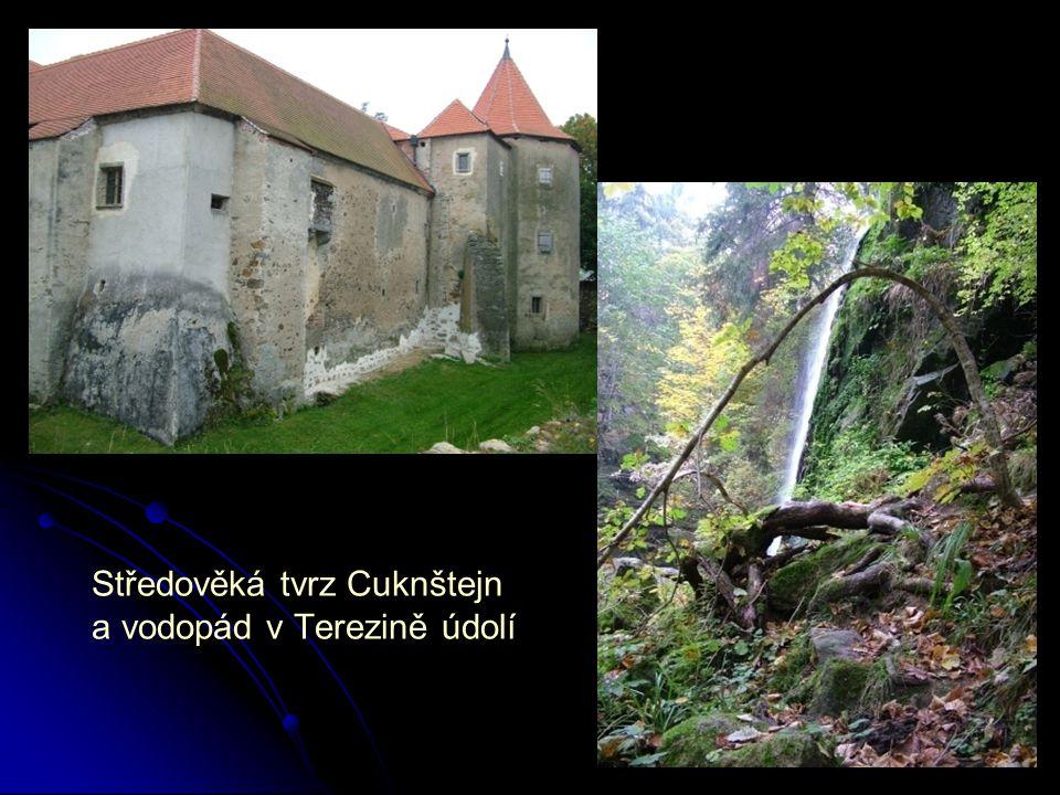 Středověká tvrz Cuknštejn a vodopád v Terezině údolí