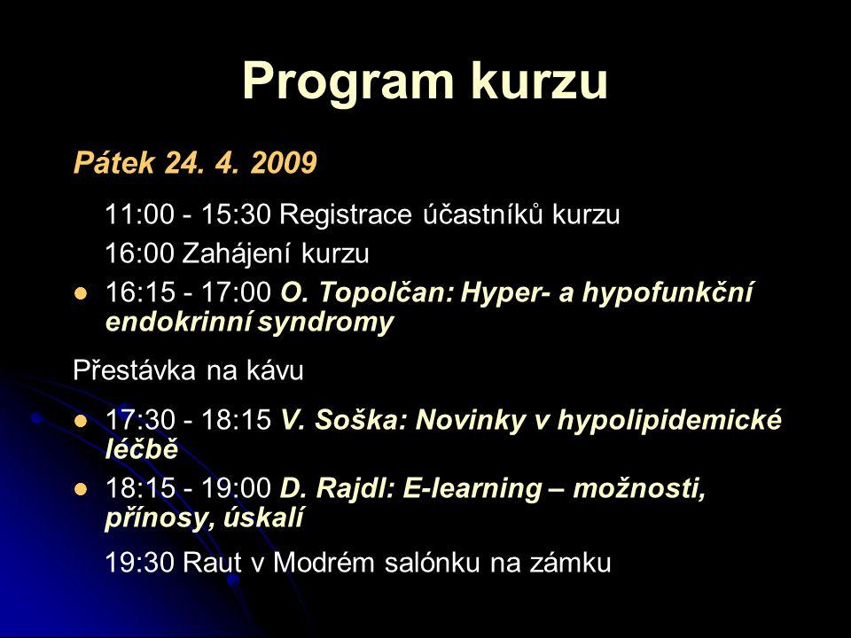Program kurzu Pátek 24. 4.