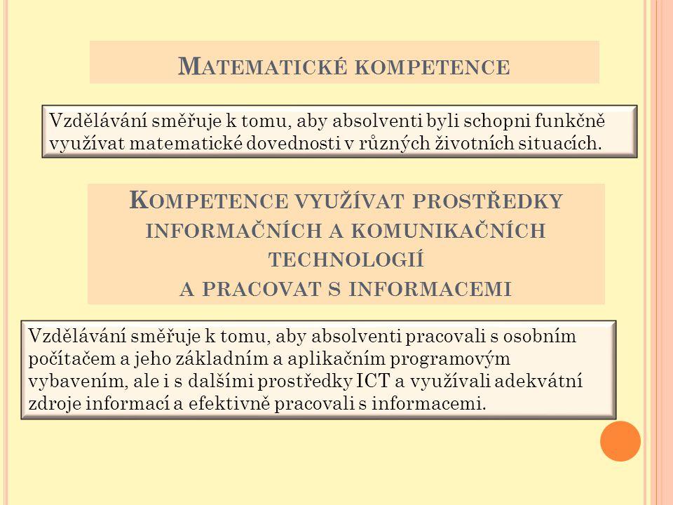M ATEMATICKÉ KOMPETENCE Vzdělávání směřuje k tomu, aby absolventi byli schopni funkčně využívat matematické dovednosti v různých životních situacích.