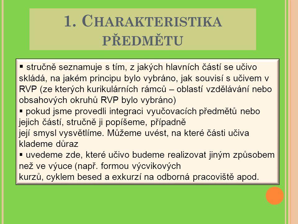 1. C HARAKTERISTIKA PŘEDMĚTU  stručně seznamuje s tím, z jakých hlavních částí se učivo skládá, na jakém principu bylo vybráno, jak souvisí s učivem