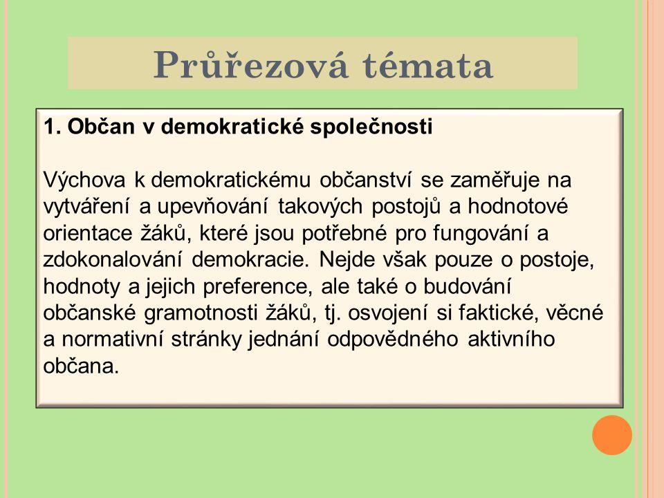 Průřezová témata 1. Občan v demokratické společnosti Výchova k demokratickému občanství se zaměřuje na vytváření a upevňování takových postojů a hodno