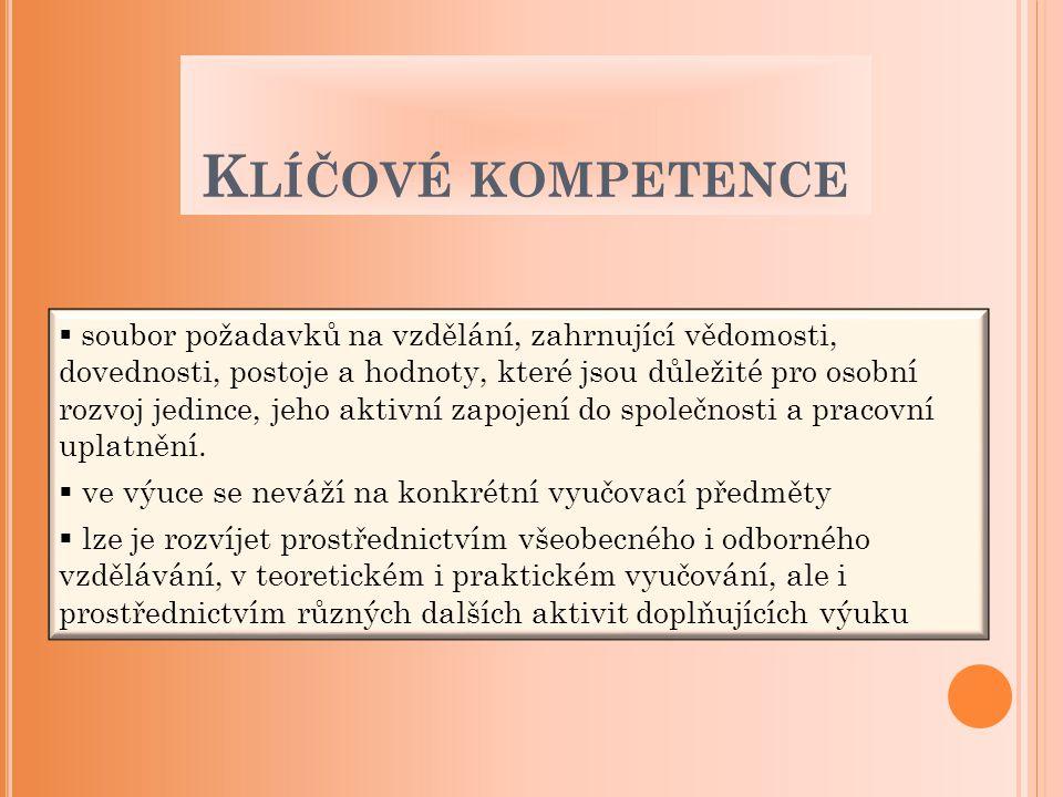 K LÍČOVÉ KOMPETENCE  soubor požadavků na vzdělání, zahrnující vědomosti, dovednosti, postoje a hodnoty, které jsou důležité pro osobní rozvoj jedince
