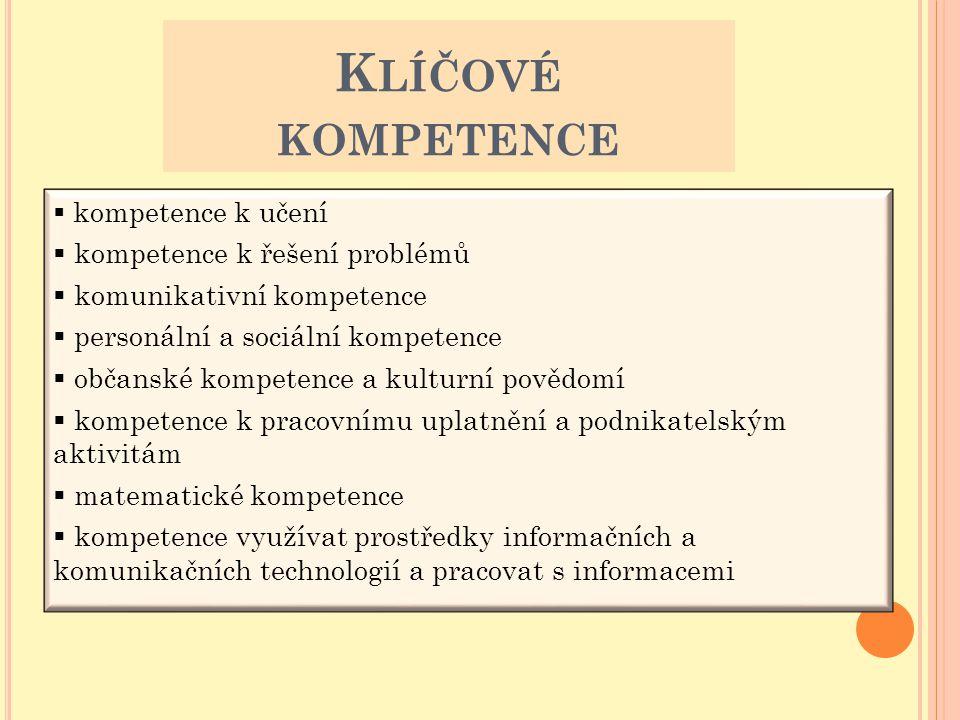  kompetence k učení  kompetence k řešení problémů  komunikativní kompetence  personální a sociální kompetence  občanské kompetence a kulturní pov