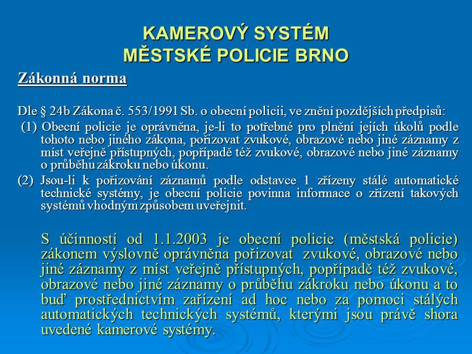KAMEROVÝ SYSTÉM MĚSTSKÉ POLICIE BRNO Přínos kamerového sytému Kamerový systém umožňuje městské policii včas a mnohdy i s předstihem reagovat na změnu bezpečnostní situace ve sledované lokalitě, na narušení veřejného pořádku či na aktuální dopravní situaci.
