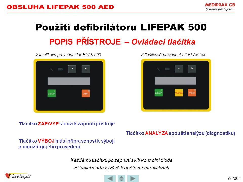 © 2005 POPIS PŘÍSTROJE – Nastavení funkcí •Většina funkcí má volitelné parametry Použití defibrilátoru LIFEPAK 500 •Výrobcem jsou nastaveny nejobvykle