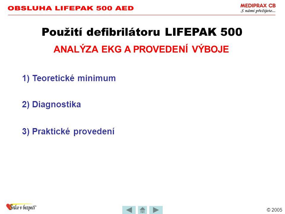 © 2005 PŘÍPRAVA PACIENTA PAMATUJ Použití defibrilátoru LIFEPAK 500 Elektrody se lepí na suchou kůži Celá plocha musí pevně přilnout Elektrody nesmí bý