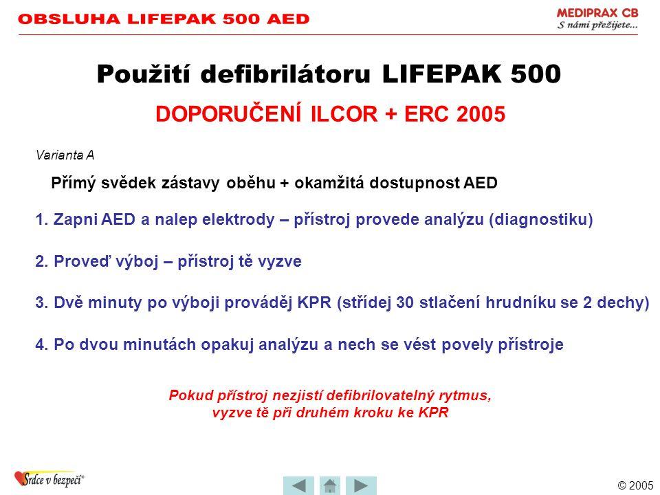 © 2005 Použití defibrilátoru LIFEPAK 500 •Přístroj zachránce vede slovními i textovými povely •Jejich pořadí je závislé na stavu pacienta (zachránce j