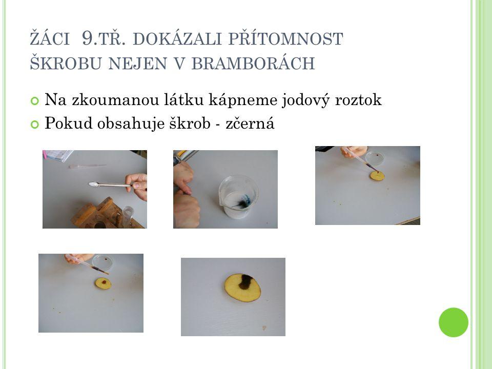 ŽÁCI 9. TŘ. DOKÁZALI PŘÍTOMNOST ŠKROBU NEJEN V BRAMBORÁCH Na zkoumanou látku kápneme jodový roztok Pokud obsahuje škrob - zčerná